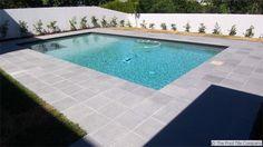 Dark Grey Granite Pool Tiles and Coping. Outdoor Pavers and Coping Outdoor Pavers, Pool Pavers, Swimming Pool Landscaping, Swimming Pool Designs, Pool Tiles, Patio, Pool Coping, Waterline Pool Tile, Pools