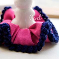 Contrast-Trim Hair Tie Magenta - One Size Hair Ties, Magenta, Crochet Necklace, Contrast, Jewelry, Fashion, Hair Bows, Crochet Collar, Jewellery Making