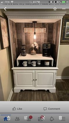 Armoire Makeover, Furniture Makeover, Diy Furniture, Coffee Bars In Kitchen, Coffee Bar Home, Coffee Bar Station, Coffee Stations, Repurposed Furniture, Painted Furniture
