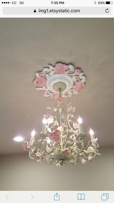 A vintage flowered baroque white ceiling medallion gold Lustre Shabby Chic, Rose Shabby Chic, Shabby Chic Romantique, Shabby Chic Chandelier, Romantic Shabby Chic, Shabby Chic Cottage, Shabby Chic Decor, Pink Chandelier, Vintage Flowers