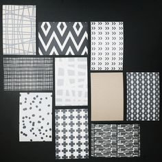 inexpensive pattern cards,  that would be perfect in some inexpensive black ikea frames, & clustered on a wall somewhere.