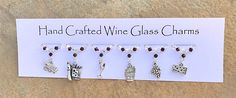 Cheese and Wine themed Wine Glass Charms - Gifts for Her - Stocking Fillers - Christmas Gifts - Table Decorations