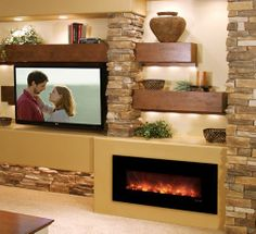 Modern Flames Fantastic Flame Linear Electric Fireplace - Wall Mount or Recessed House Design, New Homes, Room Design, House Interior, Fireplace Design, Family Room, Fireplace Wall, Living Room Tv Wall, Living Room Designs