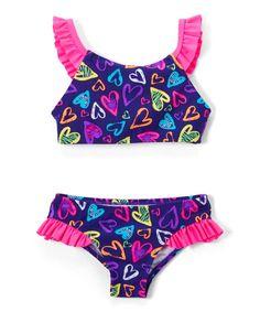 Take a look at this Blue Heartbeat Ruffle Bikini - Girls today!