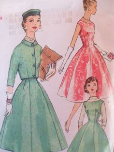 Vintage Simplicity 1674 Sewing Pattern,  Fit and Flare Dress, 1950s Dress Pattern,Cropped Jacket,, Jumper Pattern, Kimono Sleeves, Bust 31.5