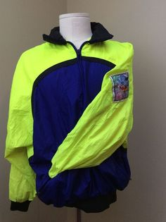 96f2a5612a57 Vintage 80s 90s HOT DOGGER Neon Yellow Purple Windbreaker Jacket Men s Small