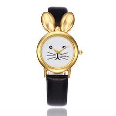 Cute Design Gold Silver Rabbit Watch for Kids Cartoon Cute Wristwatches for Women Thin Strap Quartz Watch Gold Watches Women, Rose Gold Watches, Quartz Watches, Cheap Watches, Stylish Watches, Women's Watches, Affordable Watches, Rabbit Watch, Leather Box