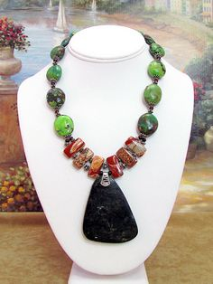Turquoise and Jasper Necklace with Pendant - T40 by daksdesigns on Etsy