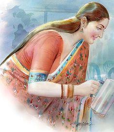 Sexy Painting, Black Art Painting, Woman Painting, Figure Painting, Indian Women Painting, Indian Art Paintings, Old Paintings, Indian Art Gallery, Art Drawings Beautiful