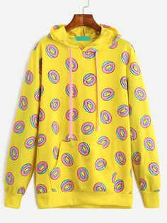 Shop Yellow Donuts Print Pockets Drawstring Hooded Sweashirt at ROMWE, discover more fashion styles online. Trendy Hoodies, Cute Sweatshirts, Cool Hoodies, Hooded Sweatshirts, Bts Hoodie, Outfits For Teens, Cute Outfits, Polo Shirt Outfits, Bts Clothing