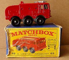 MATCHBOX LESNEY  SERIES  FIRE FIGHTING CRASH TENDER No 63 With Box - http://www.matchbox-lesney.com/45866