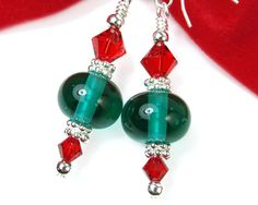 Green Christmas Earrings with Red Crystals, Lampwork Beads, Holiday Jewelry, Handmade