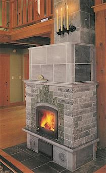 Tulikivi Masonry Heater - waaaay more efficient than a traditional fireplace.