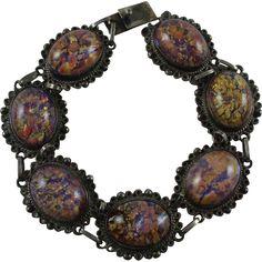 1940's Sterling Mexico Faux Opal Art-Glass Cabochons Bracelet