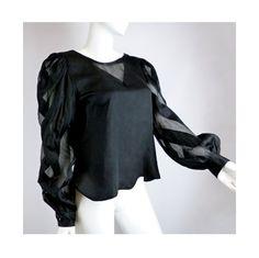 Striking Black Silk Blouse Vintage 1980s Jerri by BlackRockVintage