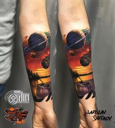Tattoo artist Vladislav Shetikov color realistic tattoo , new school Hand Tattoos, Forearm Band Tattoos, Tattoo Band, Best Sleeve Tattoos, Body Art Tattoos, Space Tattoo Sleeve, Cosmos Tattoo, Neo Tattoo, Planet Tattoos