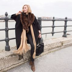 Get this look: http://lb.nu/look/8081132  More looks by Hédi Szabó: http://lb.nu/hedinke  Items in this look:  Zara Faux Fur Scarf, Tras Black Cardi Coat, H&M Camel Stole, Shore Projects Watch, Petrity Bag, Zero Uv Sunnies