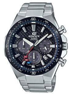 Casio Edifice Herenhorloge chronograaf Solar saffierglas EFS-S520CDB-1AUEF. Mooi en stoer horloge uit de Edifice collectie van Casio. Dankzij de wijzerplaat die tevens als lichtcel functioneert wordt de oplaadbare batterij voortdurend opgeladen. Een batterijwissel is daarom nooit nodig. Zowel de wijzers als de index zijn voorzien van een fluorescerende laag waardoor u ook in het donker kan zien hoe laat het is als het horloge kort daarvoor aan het licht is blootgesteld.