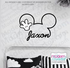 PERSONALIZED Mickey Mouse Signature Name With Hand Vinyl Wall Decal Nursery  Disney By ModernVector On Etsy