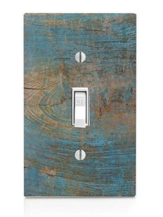 Wood with Blue on Wooden Old Vintage Background Light Switch Plate