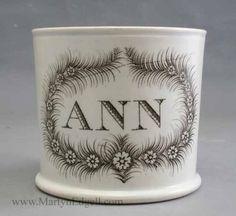 Pearlware childs mug Ann, circa 1820 Antique Pottery, Pottery Mugs, Childrens Cup, Mugs And Jugs, Aesthetic Movement, China Mugs, Porcelain Ceramics, Kids Playing, Shaving