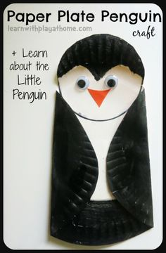 Learn with Play at Home: Learning about Little Penguins. Simple Paper Plate Peng… Learn with Play at Home: Learning about Little Penguins. Simple Paper Plate Penguin Craft + Win a Penguin Pal! Toddler Crafts, Preschool Crafts, Fun Crafts, Crafts For Kids, Arts And Crafts, Paper Plate Art, Paper Plate Crafts, Paper Plates, Penguin Craft