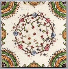 """Victorian """"Garland of Flowers"""" ceramic tile by Corn Brothers"""