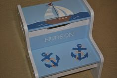 Kids Personalized  2 Step Stool  Out To Sea by onmyown14 on Etsy, $69.95