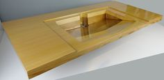 Custom Floating Vanity w/ Integrated Basin, created from sustainably sourced cedar.