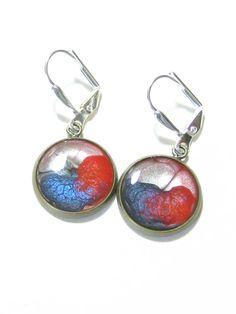 Red Blue Silver Disc Dangle Earrings Leverback by JKCJewelry, $13.00