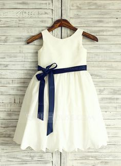 [US$ 59.99] A-Line/Princess Knee-length Flower Girl Dress - Cotton Blends Sleeveless Scoop Neck With Bow(s)
