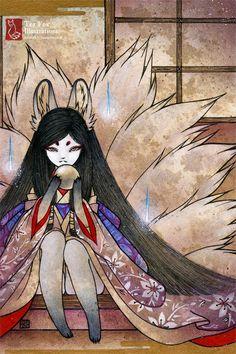 Hoshi no Tama / Ninetails, Fox Kitsune Spirit / Japanese Style Art / 4x6 Fine Art Print