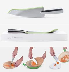 Rocking Knife by Designer Mikhail Belyaev | Another multi-purpose knife concept designed for F.O.R., this one lets you safely scoop up whatever you chop.