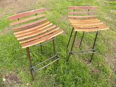 Petrified Design scrap wood and metal stools