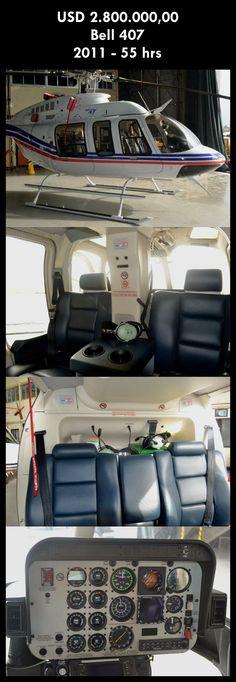 Aeronave à venda: Bell 407 , 2011, 55 hrs, USD 2.800.000,00. #bell #bell407 #407 #airsoftanv #aircraftforsale #aeronaveavenda #pilot #piloto #helicoptero #aviation #aviacao #heli #helicopterforsale  www.airsoftaeronaves.com.br/H210