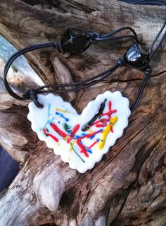 Groovey 80's Style Heart Pendant Necklace by ekwpaintedtreasure, $34.95