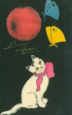 vintage New Year postcard cat