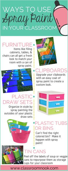 Transform your classroom with spray paint - an easy way to create a unified look throughout your classroom decor! Transform your classroom with spray paint - an easy way to create a unified look throughout your classroom decor! Elementary Classroom Themes, Classroom Setting, Classroom Setup, Classroom Design, School Classroom, Classroom Organization, Future Classroom, Classroom Hacks, Classroom Management