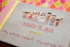 Cross Stitch Wedding Party Handmade Photo Album