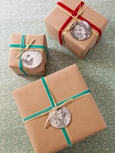 Instead of traditional gift tags, why not place a childhood photo on each package instead? Use plain ribbon and brown packaging paper so the photos will stand out!