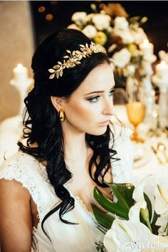 An Ethereal Take on Ancient Greece - Wedding Ideas - WedLuxe Magazine Gold Leaf Crown, Gold Leaf Headband, Floral Crown, Bohemian Headpiece, Pearl Headpiece, Pearl Headband, Headdress, Elegant Wedding Hair, Dream Wedding