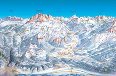 Map - Pampeago Ski and Snowboard School Pisa, Ski And Snowboard, Mount Everest, Skiing, Beautiful Places, Italy, Map, Mountains, Travel