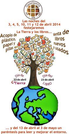 Hasta el sábado 12 de abril, 2014 festejaremos en QuisQueya eco-arte-café La Tierra y los libros; ya que desde el 13 de abril y hasta el 3 de mayo estaremos de paréntesis para leer y mejorar el entorno. Así que podrán traer envases de plástico limpios y de preferencia aplastados, papel y cartón para reciclar y pilas para su acopio y destino final responsable. Además tendremos venta de libros nuevos y usados. ¡Y quienes lo prefieran podrán hacer cambalache también!