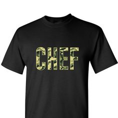 Chef Camo Black mens tshirt - Chef Camouflage print Black T-shirt - All Cotton, all sizes available by oneuniformstore. Explore more products on http://oneuniformstore.etsy.com