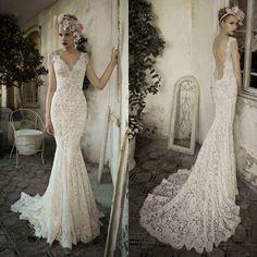 whiteivory-open-back-lace-wedding-dress-custom-size-2-4-6-8-10-12-14-16-18.jpg (736×736)
