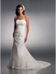 Charmeuse Strapless Re-Embroidered Lace Bodice A-line Wedding Dress