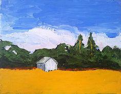 Original Art Impressionist Painting CALIFORNIA Landscape FARM Meadow Field Barn Shed FREE Shipping 8x10 Lynne French