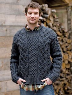 Norah Gaughan's classic cables flank an alluring expanse of honeycomb stitch. This is a heavier sweater suitable for those in colder climes. The Wilson Hat features the same honeycomb texture used in the Wilson pullover. Handgestrickte Pullover, Honeycomb Stitch, Male Hands, Hand Knitted Sweaters, Mens Jumpers, Knitting Designs, Knitting Ideas, Knitting Patterns, Cable Knit