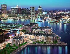 The Ritz Carlton Residences Inner Harbor Baltimore - Night Time Arial