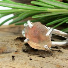 Oregon Sunstone Ring in Sterling Silver / Rough by jetflair, $75.00